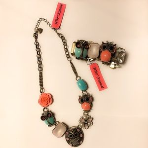 BETSEY JOHNSON | Chunky Owl Necklace & Bracelet